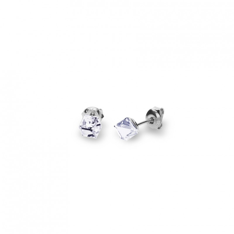 Cube Studs Small Crystal.