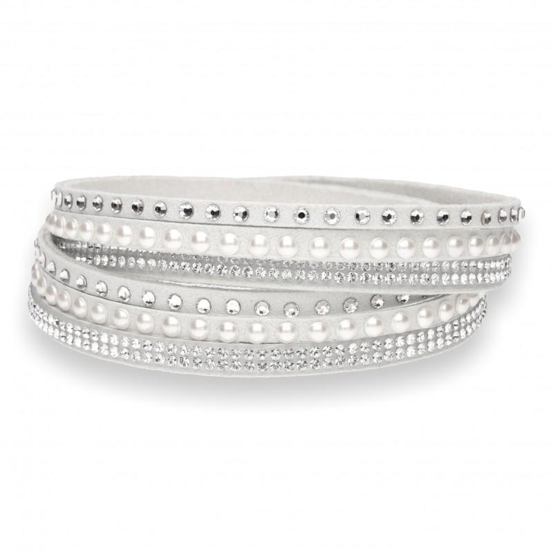 Multistrands Pearl bianco e White Pearl e Crystal.